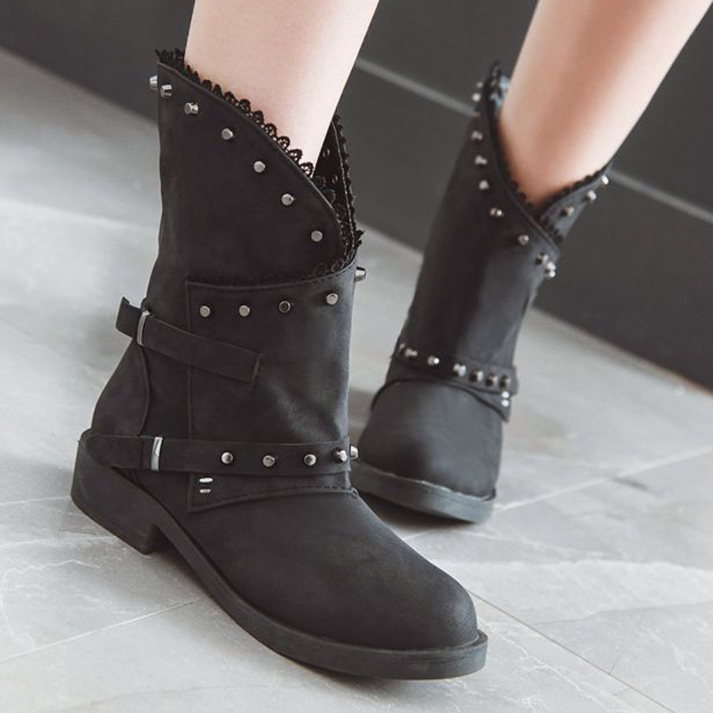 New Women's Fashion Warm Short Leather Boots Women Buckle Strap Artificial Leather Short Plush Shoes Bottes Femme Cuir Veritable