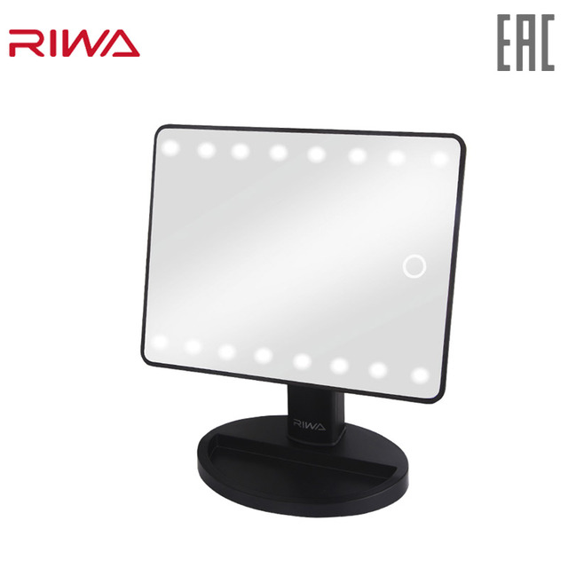$ US $12.70 RIWA GWF146 Makeup Mirror with 16 LEDs Cosmetic Mirror with Touch Dimmer Switch Battery Operated Stand for Tabletop Bathroom Travel