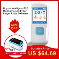 CONTEC Portable ECG EKG Machine Heart rate monitor Electrocardiograph ECG Monitor Handheld Heart Machine Baby Heart Monitor