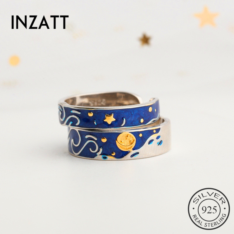 INZATT Real 925 Sterling Silver Enamel Sun Resizable Ring For Fashion Women Cute Fine Jewelry Minimalist Accessories 2019 Gift