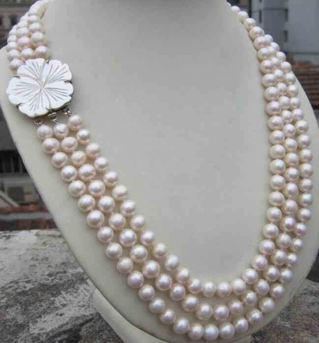 Bijoux collier de perles 3 rangées 8-9MM naturel Akoya mer du sud collier de perles blanches 17-19 ''fermoir livraison gratuite