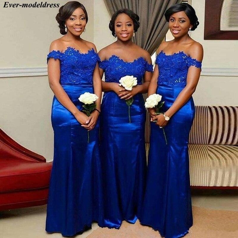 Royal Blue Off Shoulder   Bridesmaid     Dresses   Long Lace Appliques Lace Up Back Mermaid Wedding Guest   Dress   Prom Party Gowns