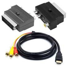 1080p זכר s video ל 3 RCA AV כבל אודיו W/SCART כדי 3 RCA Phono מתאם