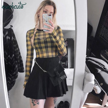 SUCHCUTE Womens Skirt Metal Chain Gothic Black  Summer 2019 Pleated Party Punk Wrap Hip Streetwear Female Clothes