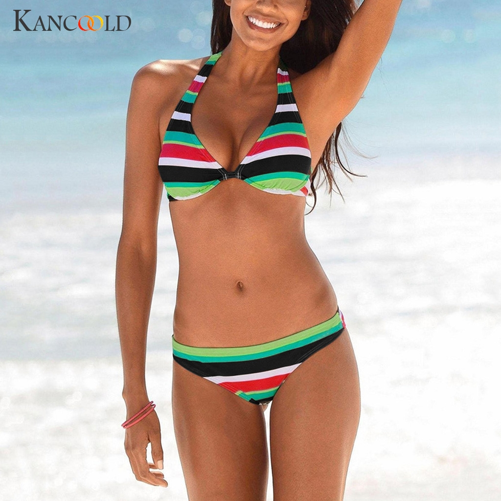 KANCOOLD Women's Swimwear 2020 Stripes Color Phase Women's Two Piece Print Sexy Split Swimsuit Bikini Swimsuit Beachwear