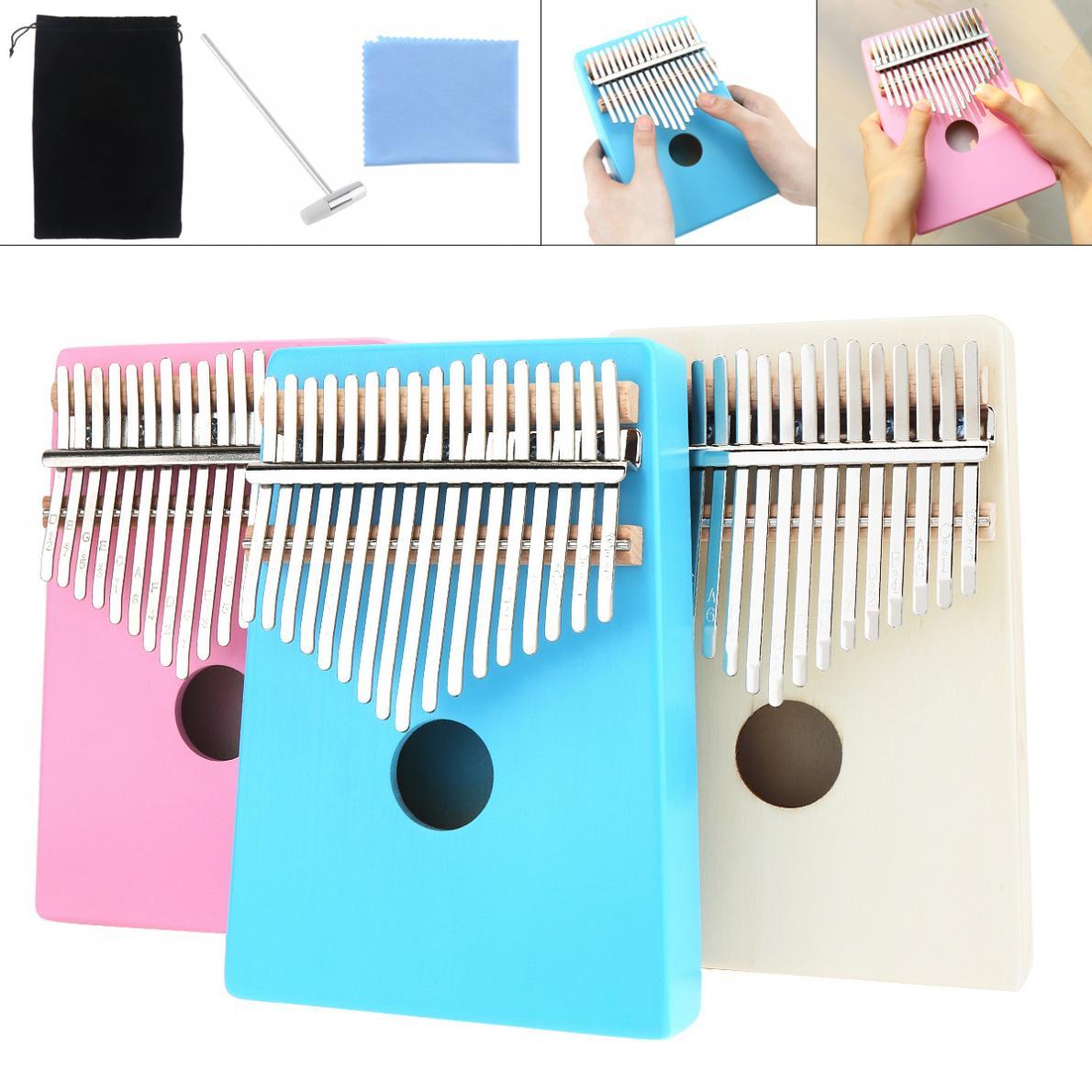Única de Kalimba Instrumento de Teclado Piano de Dedo com 17 Teclas Placa Pine Mbira Mini Rosa Madeira Azul Opcional
