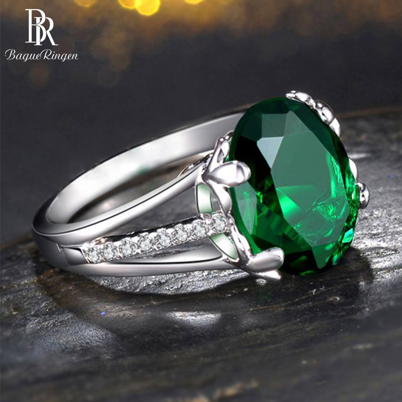 Bague Ringen Classic Silver 925 Ring With Round Shape Emerald Gemstones For Charm Women Jewelry Party Wholesale Gift Size 6-10