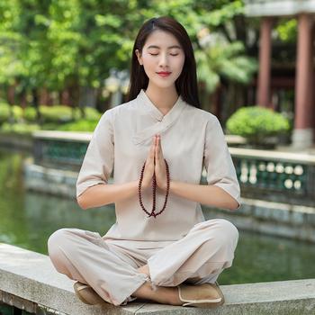 Kobiety bawełniana pościel tradycyjna chińska odzież dla kobiet Tai Chi jednolita Wushu joga odzież do medytacji Tai Chi kostium kobiet tanie i dobre opinie Linen CN (pochodzenie) Suknem WOMEN Zestawy