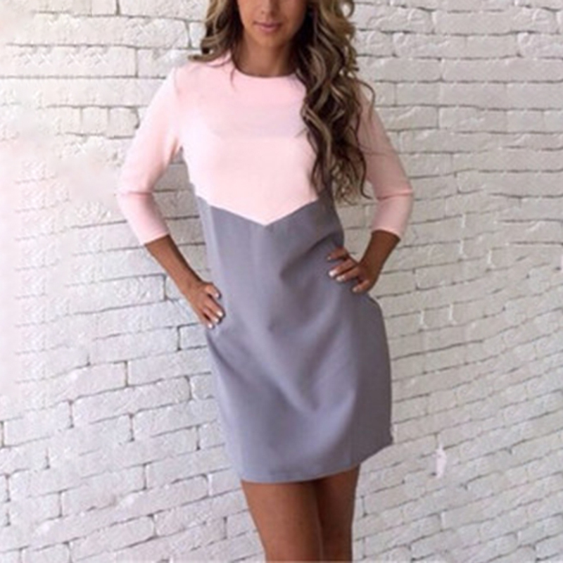 Womens Casual  Dress Contrast Color O-neck Stitching Long Sleeve Basic Mini Dresses Autumn Warm Clothes