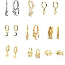 ROMAD-pendientes de circón con forma de luna y estrella para mujer, joyería de plata de ley 925, Aros, pendientes, joyería