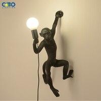 Resin Wall Lamp Monkey Black White Gold Living Room/Corridor/Restaurant E27 LED With Plug Retro Lighting Modern Wall Lights