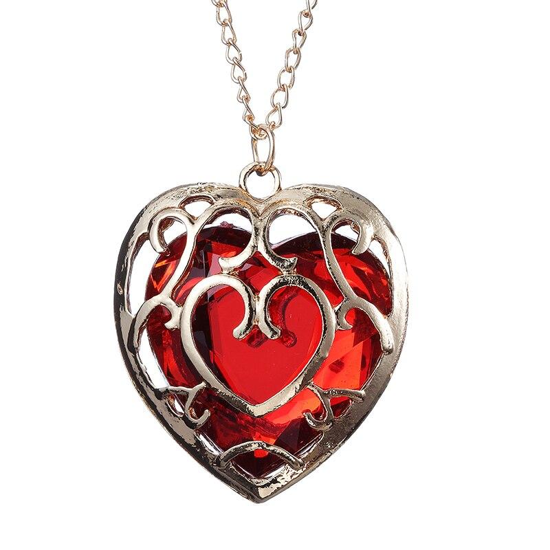 ZRM модные украшения Легенда о Zelda брелок синий кулон в виде красного сердца влюбленные пары брелок для женщин и мужчин - Цвет: Red Necklace