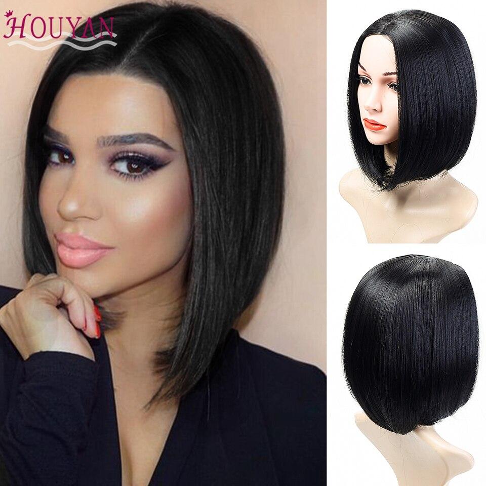 Houyan cabelo curto peruca sintética fibra de alta temperatura preto feminino festa ou uso diário