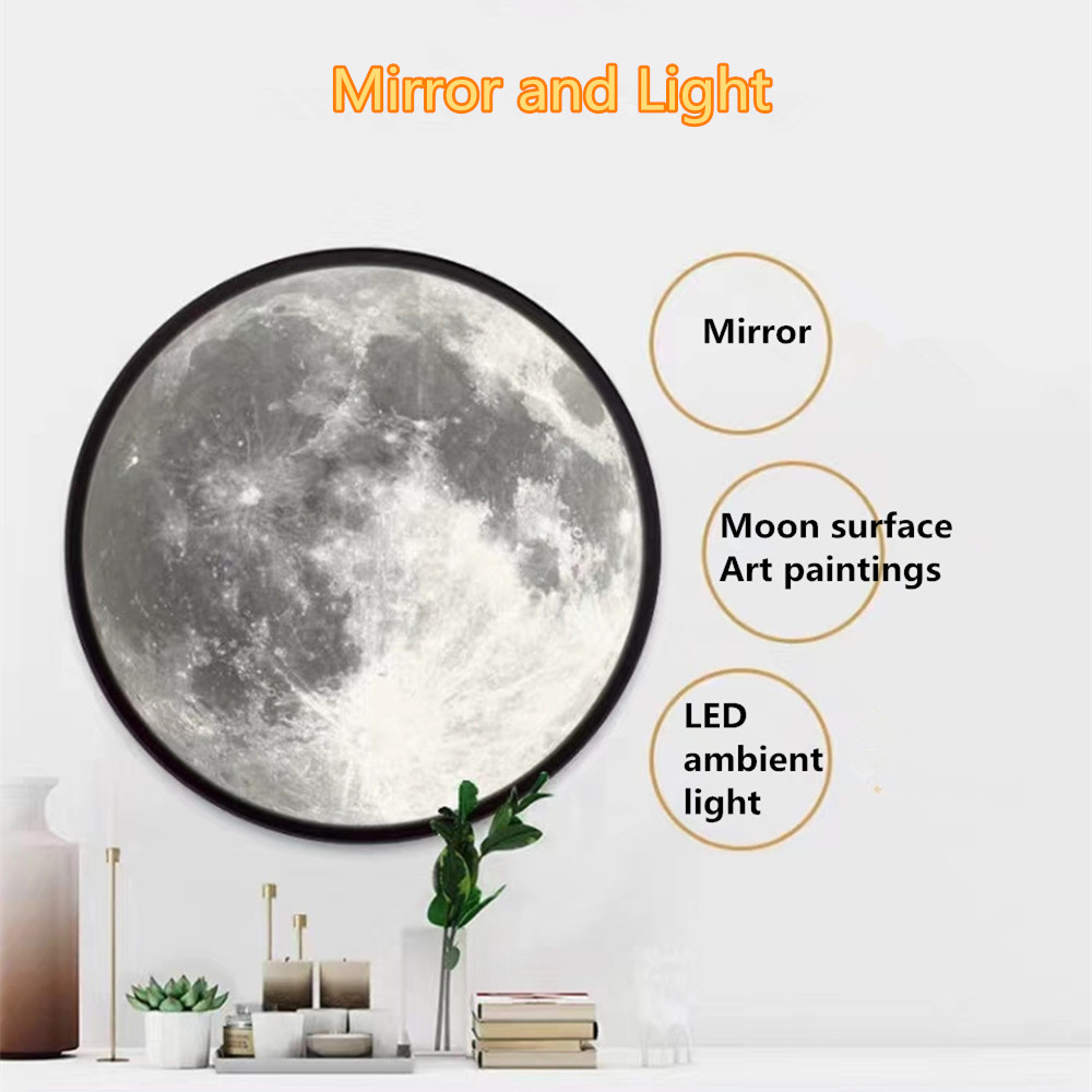3D Mirror LED Moon Lamp Glass Makeup Table Light Bedroom Décor Art Painting USB Power