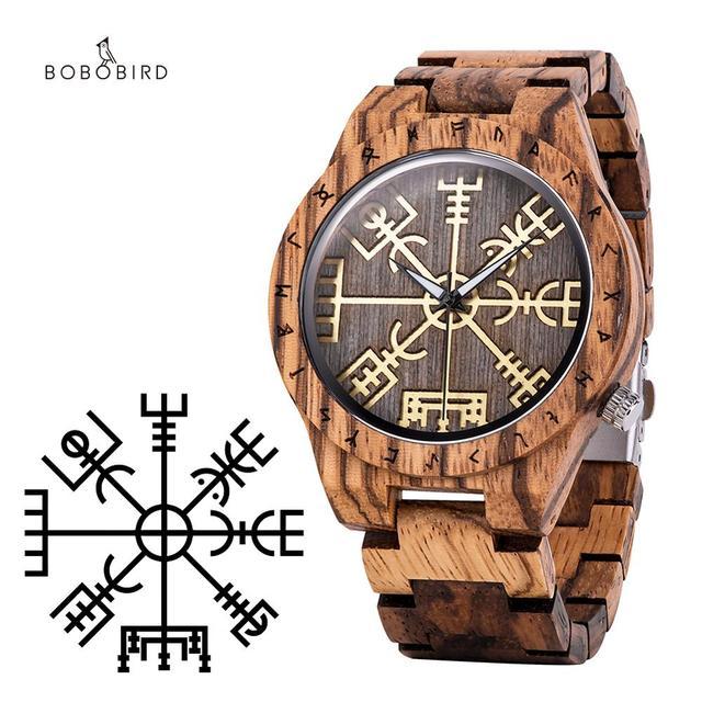 reloj hombre BOBO BIRD Wooden Handmade Watch Men Runic Circle Watches with Golden Helm of Awe or Vegvisir Quartz Wristwatch Man