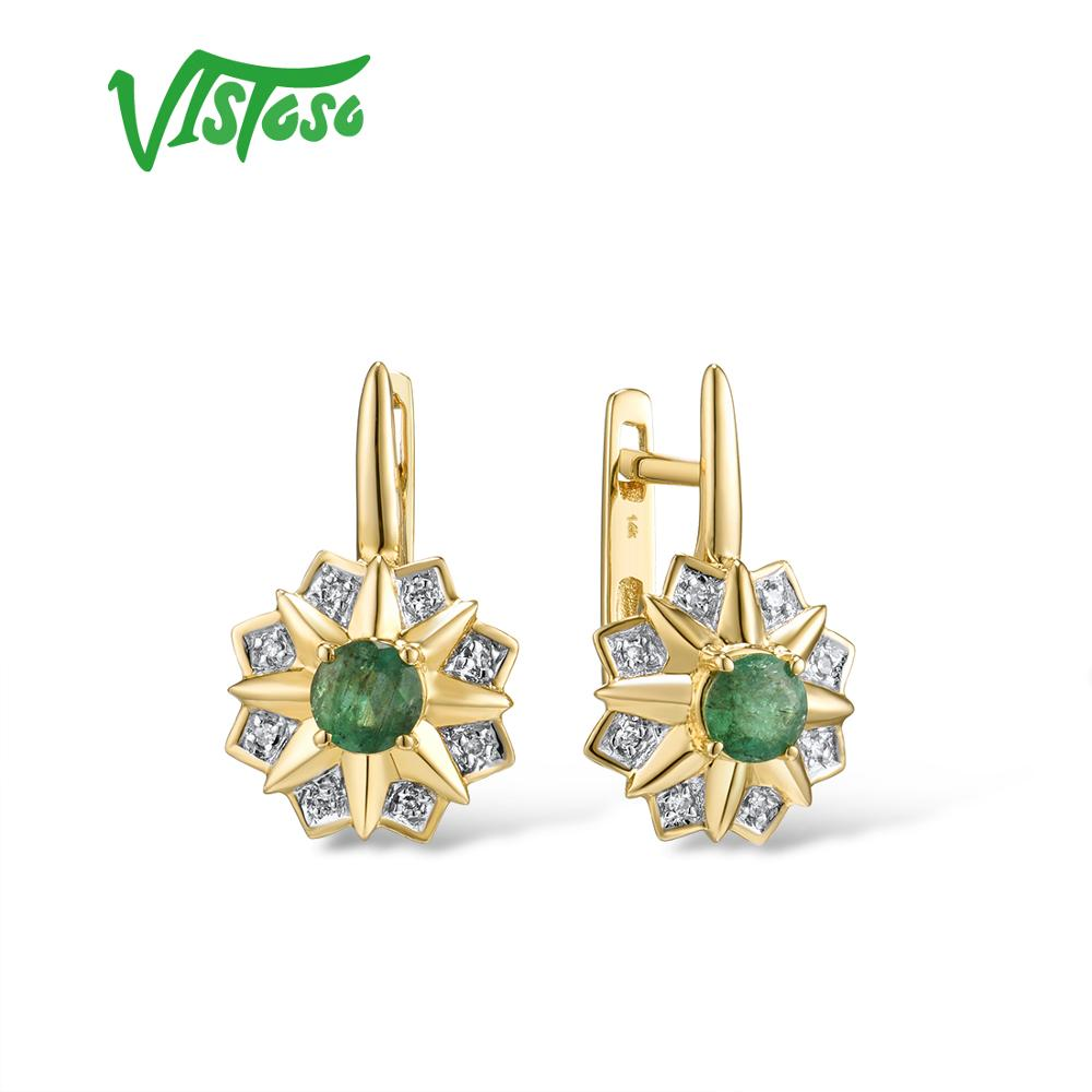VISTOSO Gold Earrings For Women 14K 585 Yellow Gold Sparkling Emerald Luxury Diamond Wedding Anniversary Elegant Fine Jewelry