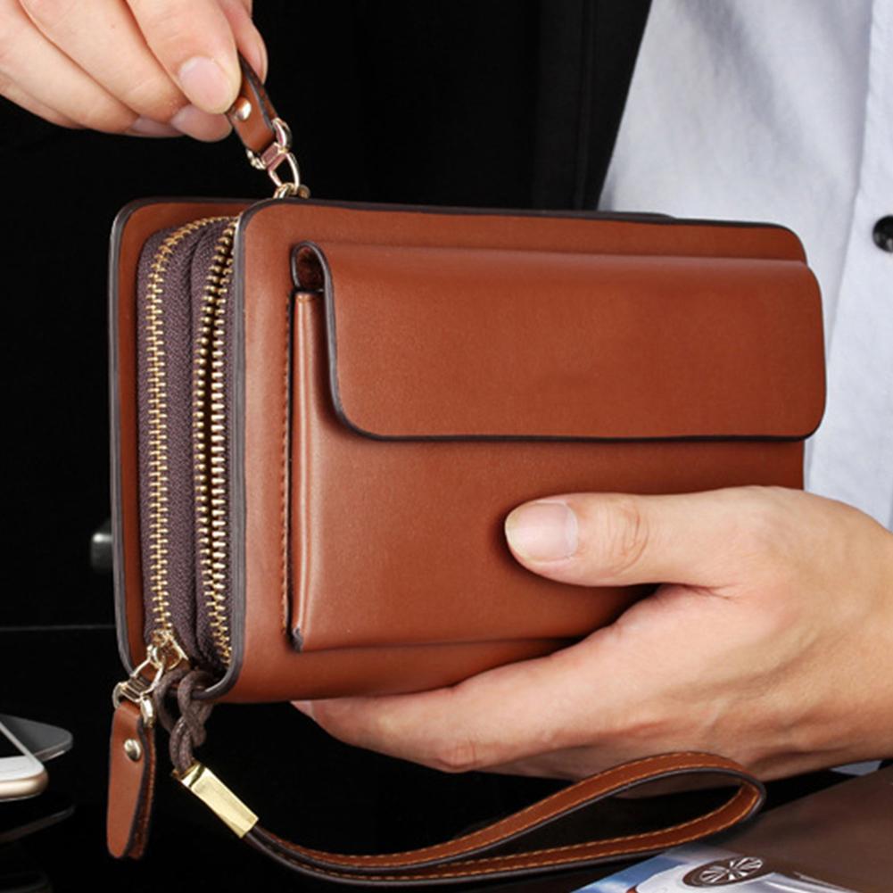 Men Faux Leather Double Zipper Wallet Purse Money Holder Clip Clutches Handbag