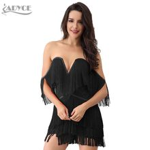 Adyce 2020 קיץ נשים ציצית תחבושת שמלה אלגנטי V צוואר כבוי כתף סקסי פרינג לבן קצר שרוול מועדון מסיבת מסלול שמלה