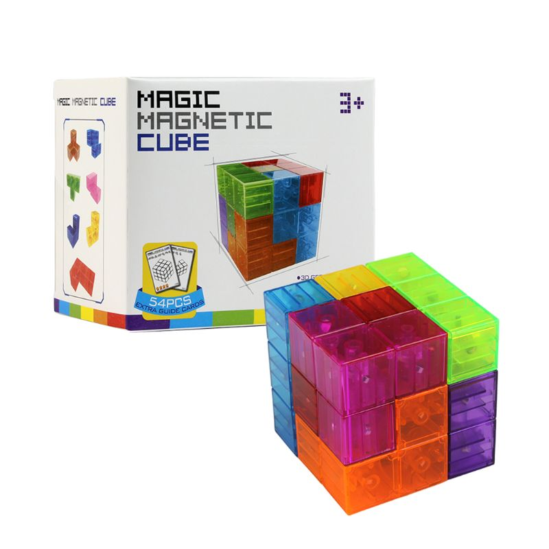 Magnetic Puzzle Twist Cube Stress Relief Building Blocks 54 Card Guide Funny Kid