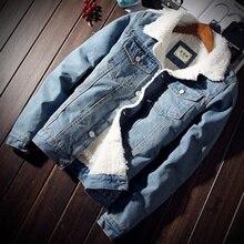 Zogaa Men Jacket and Coat Trendy Warm Fleece Thick Denim 2019 Winter Fashion Mens Jean Outwear Male Cowboy