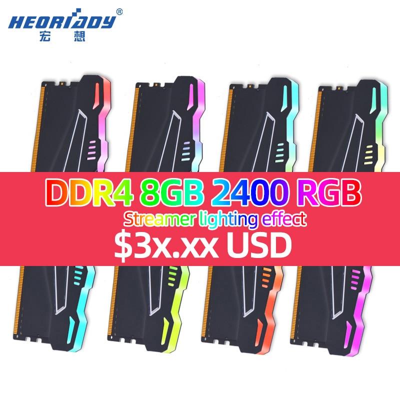 8gb Ddr4 2666 2400 RGB Ram Computer Memory Desktop Gaming Cooling Fin Options 4GB 16GB