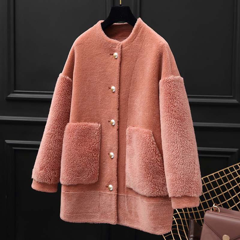 Real Fur Coat Autumn Winter Jacket Women Clothes 2020 Korean Vintage Sheep Shearling Fur Women Tops Suede Lining ZT3461