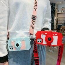 3D Kamera Crossbody Fall Für iPhone SE 2020 12 11 Pro Max X 10 XR 6 6s 7 8 plus XS Max Weiche Silikon Geldbörse Telefon Fall