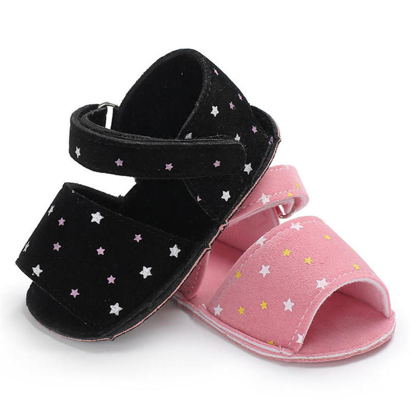 Baby Sandals Girl Boy Comfort Soft Cotton Anti-Slip Sole New Fashion Stars Print Newborn First Walker Infant Toddler Crib Shoes