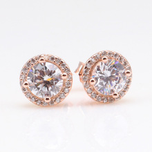 Original 925 Sterling Silver Pan Earrings Transparent Shine Rose Gold Shine Crown Round Earrings For Women Gift Jewelry