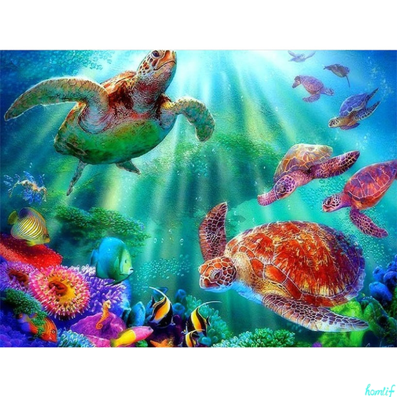 "Square//Round Drill 5D DIY Diamond Painting /""Turtle family/"" 3D Embroidery Decor"