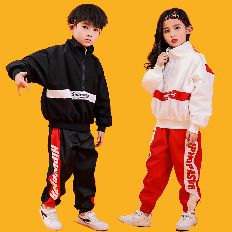 Loose Jazz Dance Costume Kids Hiphop Rave Outfit Street Dance Stage Performance Clothing Children Sport Clothes 3 Pcs DC2753