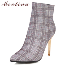 Meotina Winter Ankle Boots Women Glitter Stiletto Heel Short Mixed Colors Super High Shoes Ladies Fall Big Size 33-43