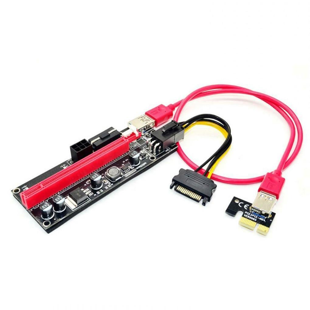 5/10pcs PCI-E pcie Riser 009 Express 1X 4x 8x 16x Extender PCI E USB Riser 009S Dual 6Pin Adapter Card SATA 15pin for BTC Miner-3