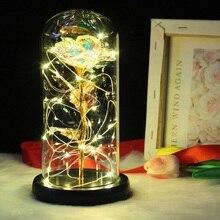 Новая Красавица и Чудовище красная роза в стеклянном куполе на деревянной основе для подарков на день Святого Валентина светодиодный лампы с розами