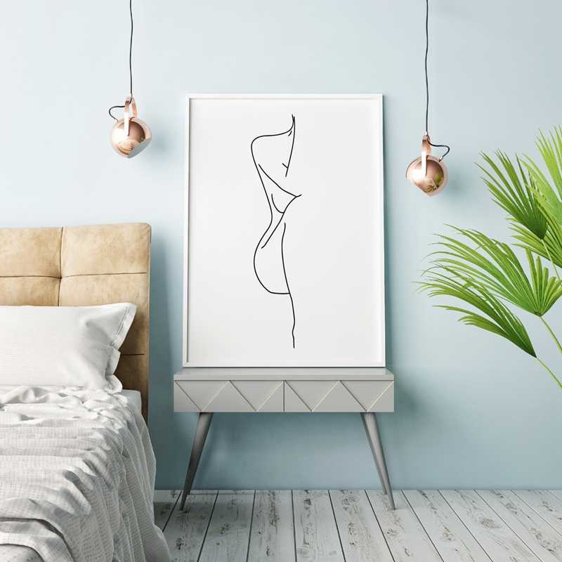 Nude Female Body Line Drawing Art Canvas Painting Black White Picture Minimalist Art Poster Woman Figure Prints Home Wall Decor