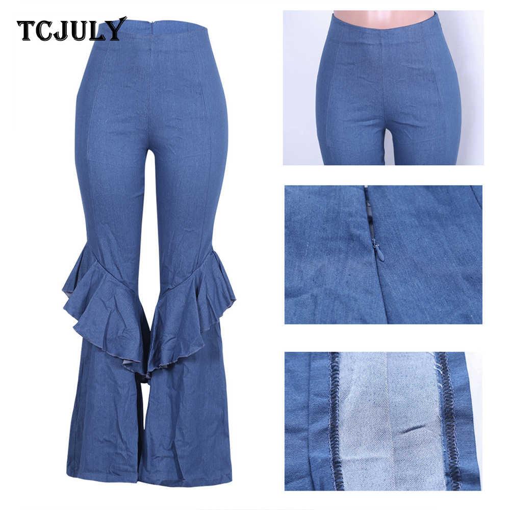 TCJULY المألوف الشارع الشهير عالية الخصر مضيئة الجينز نحيل رفع تمتد الدنيم السراويل النساء غسلها ضئيلة الأزرق جرس أسفل الجينز