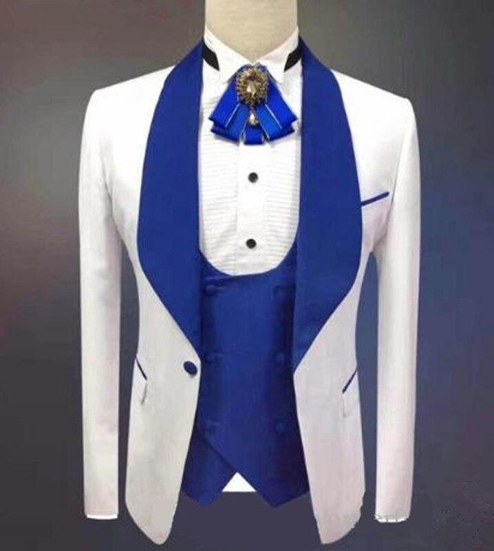 Slim Fit Casual Suits For Men Royal Blue Shawl Lapel Man Suit Jacket Vest 3 Piece Wedding Groom Tuxedos With Pants
