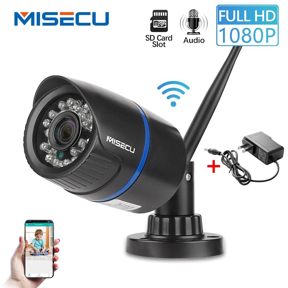 MISECU Câmera IP Wi-fi 1080P Slot Para Cartão SD de Áudio CCTV Sem Fio Ao Ar Livre Câmera de Segurança À Prova D' Água ONVIF P2P Night Vision XMeye app