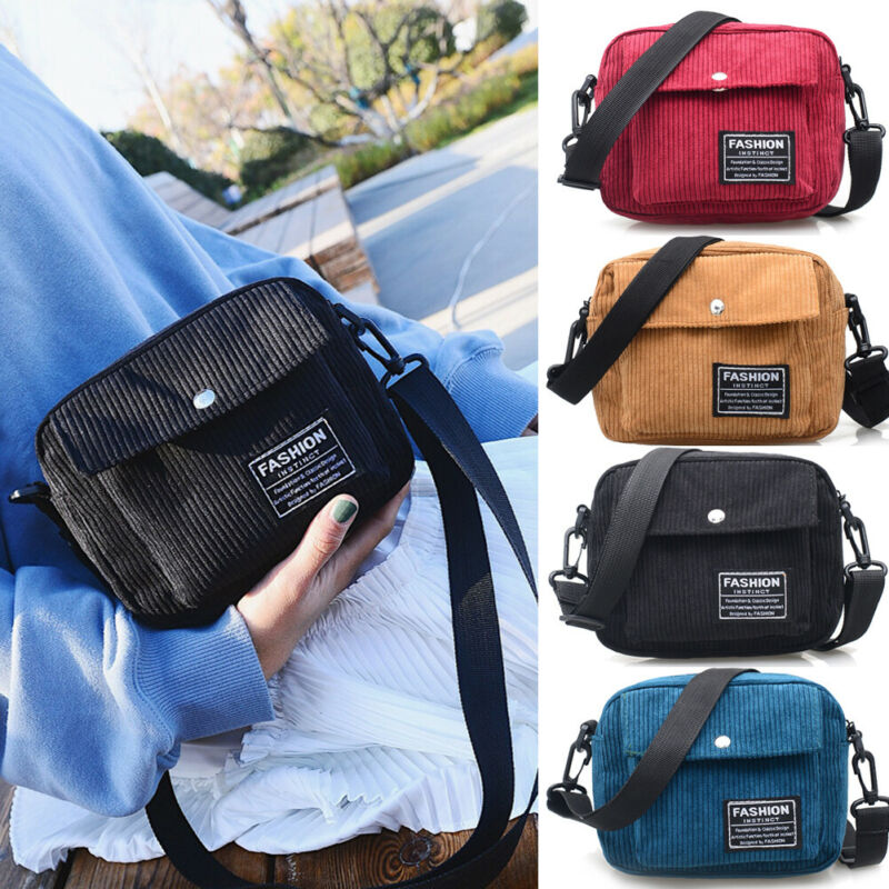 Outdoor Waterproof Cross Square Bag For Both Men And Women Simple Corduroy Flannel Bag 4 Colors Are Available