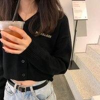 3 цвета корейский стиль для женщин Весна Осень v образным вырезом короткий свитер кардиган пальто женская верхняя одежда с длинным рукавом в...