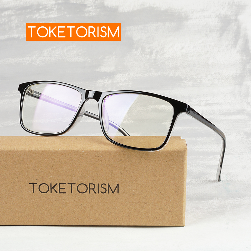 Toketorism Ultralight Rectangle Metal Plastic Frame Plain Prescription Eyeglasses For Men And Women 1019