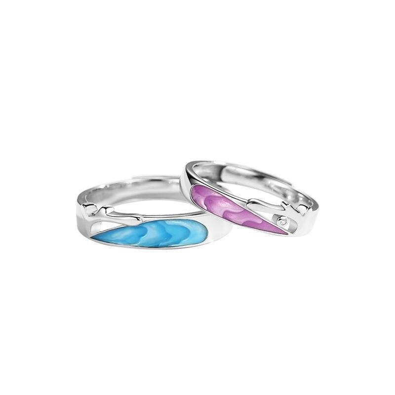 Купить leouerry enamel craft coral sea shape couple rings for women