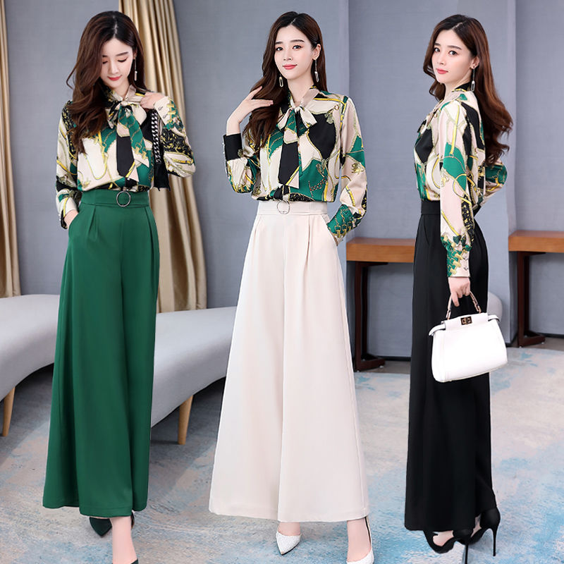 Summer Two Piece Set OL Women Sets Plus Size Two Piece Set Top And Pants Wide Leg Pants Woman Tracksuit /outfit/suit/Set 2 Piece