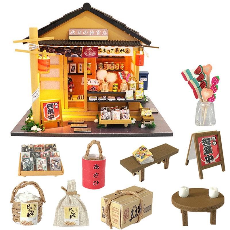 Japanese Style Grocery Store 3D Wooden Dollhouse Miniaturas With Furnitures DIY Doll House Kit Toy For Children Brithday Gift