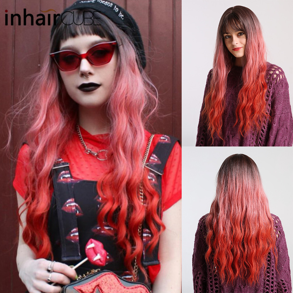 Inhair Cube Lady Wig Dark Brown Root Ombre Red Long Wavy Heat Resistant Synthetic Hair Wigs For Women Use And Cosplay Free Gifts