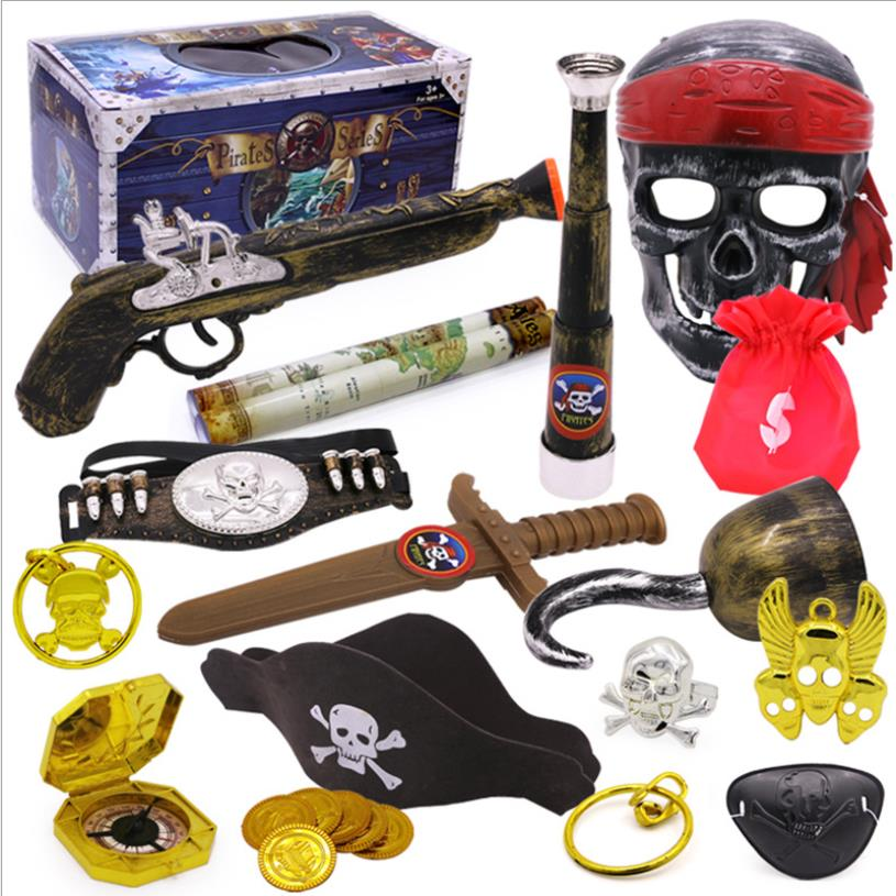 Role Playing Toy Party Equipment Pirate Weapons Sword Caribbean Scary Pirate Mischievous Pirate Hook Compass Toy Gift For Kids