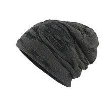 Мужская утолщенная теплая вязаная шапка вязанная крючком зимняя трикотажная шапка с черепом, шапки A129