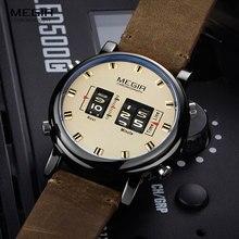 Megir デジタル腕時計男性高級トップブランドのクォーツは、男性の革レロジオ masculino 2019 新軍ドラムローラー腕時計 2137