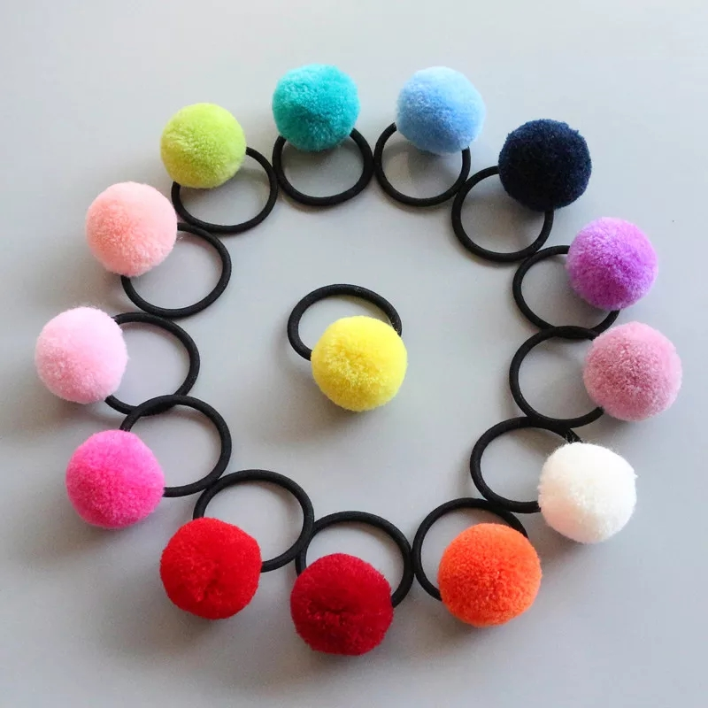 16 Pcs 8 Pairs Colored Pom Ball Elastic Hair Ties Girls' Ponytail Holder Kids Hair Bands Accessories Children's Hair Accessories
