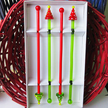 4pcs Custom Muti color lovey Christmas tree head glass swizzle sticks handmade Lampwork wine coffee cocktail drink stirrer wholesale hot sale high quality